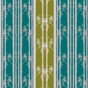 Bamboo wainscot, Teal and Moss