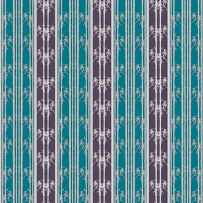Bamboo Wainscot, Teal and Purple