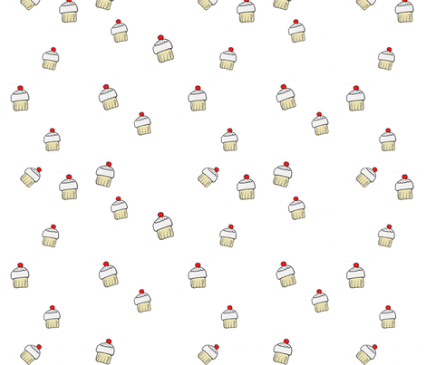 white_cupcakes fabric by 5u5an on Spoonflower - custom fabric