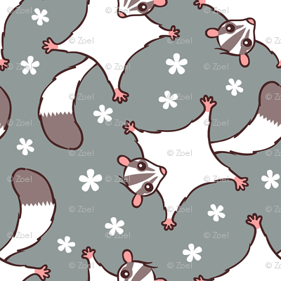 Sweet Sugar Glider with flowers - grey