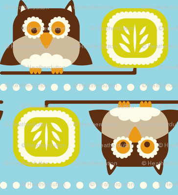 Owl Town - Whimsical Birds Aqua Blue