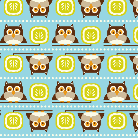 Owl Town - Whimsical Birds Aqua Blue fabric by heatherdutton on Spoonflower - custom fabric