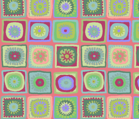 pink granny squares fabric by lfntextiles on Spoonflower - custom fabric