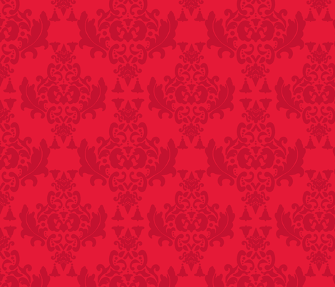 Delicious Damask in Orange Red fabric by mayabella on Spoonflower - custom fabric