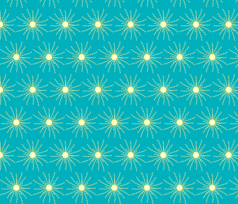 Sunshine Burst on Teal fabric by coveredbydesign on Spoonflower - custom fabric