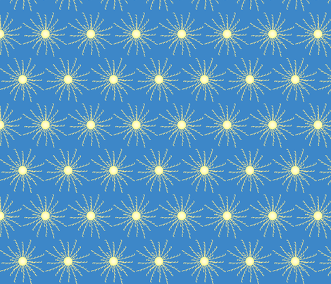 Sunshine Burst on Blue fabric by coveredbydesign on Spoonflower - custom fabric