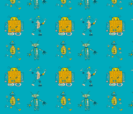 Robot Series- Large- Dark Blue fabric by zilamonster on Spoonflower - custom fabric