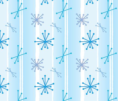 Retro Snow Flakes - Baby Blue fabric by lmlloyd-designs on Spoonflower - custom fabric