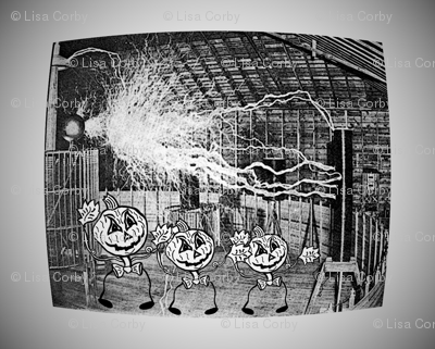 Halloween Jack O'Lantern Pumpkin Men in Tesla Lab