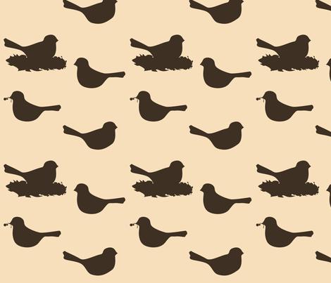 birds- brown/tan fabric by avelis on Spoonflower - custom fabric