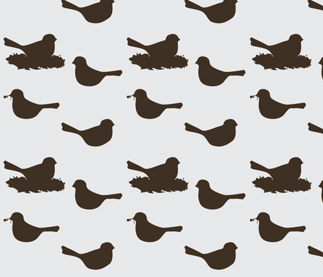 birds in grey/chocolate fabric by avelis on Spoonflower - custom fabric