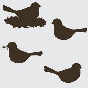 birds in grey/chocolate