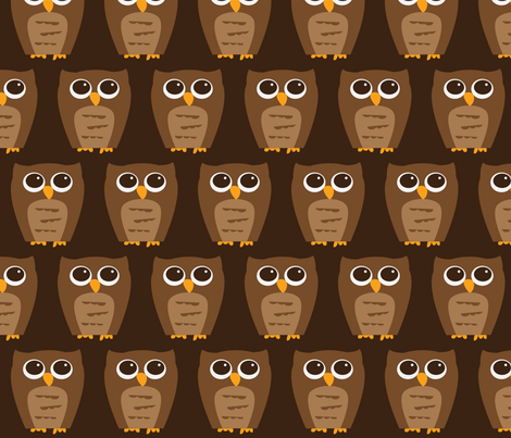 Large Wise Brown Owl fabric by wastenotsaks on Spoonflower - custom fabric