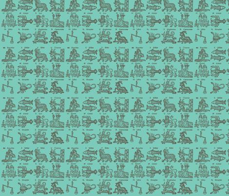 Zodiac Woodcut fabric by ashworth on Spoonflower - custom fabric