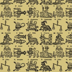 Zodiac Woodcut - Parchment