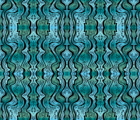Water (deep teal/turquoise) fabric by jenithea on Spoonflower - custom fabric