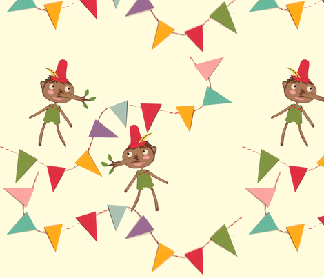 pinocchio bunting fabric by heidikenney on Spoonflower - custom fabric