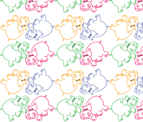 Hippo Outlines fabric by coveredbydesign on Spoonflower - custom fabric