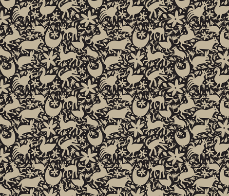Mexico Springtime: Linen on Black (Small Scale) fabric by sammyk on Spoonflower - custom fabric