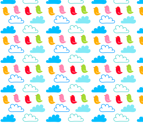 Happy Clouds and Birds fabric by carinaenvoldsenharris on Spoonflower - custom fabric