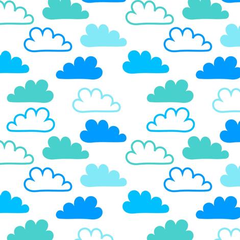 Happy Blue Clouds fabric by carinaenvoldsenharris on Spoonflower - custom fabric
