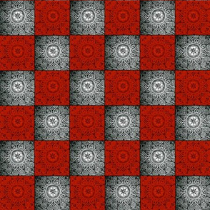 Red and Silver Textured Checkerboard.