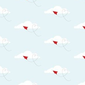 love and paper airplanes (pale blue)
