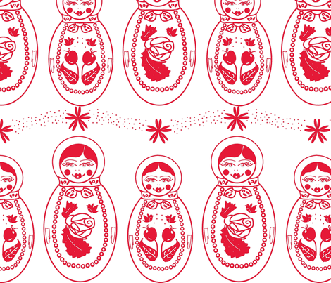 Red Russian Dolls fabric by babysisterrae on Spoonflower - custom fabric