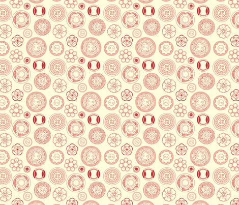 Vintage Buttons (red) fabric by marcelinesmith on Spoonflower - custom fabric