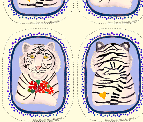 Blue Vintage Tiger fabric by pixiewinkle on Spoonflower - custom fabric