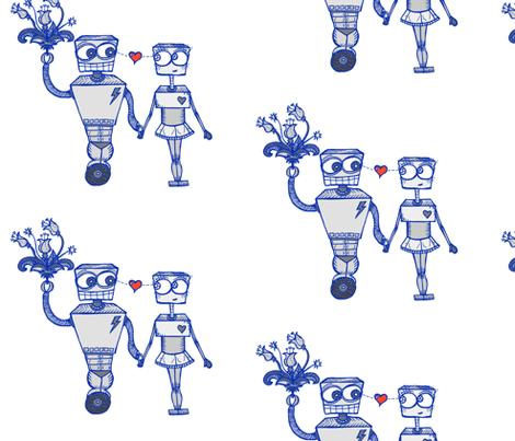 Robots in Love fabric by taraput on Spoonflower - custom fabric