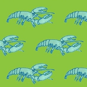 Blue Lobster on Green