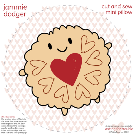 Jammie Dodger Mini Pillow fabric by marcelinesmith on Spoonflower - custom fabric