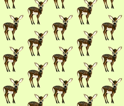 Fawn on pale green fabric by taraput on Spoonflower - custom fabric