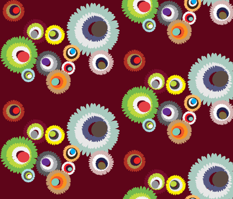 Pompon Cranberry  fabric by dolphinandcondor on Spoonflower - custom fabric