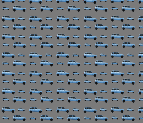 Blue Euro Car on Charcoal fabric by mayabella on Spoonflower - custom fabric