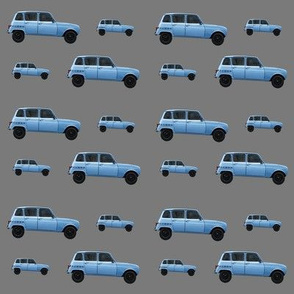 Blue Euro Car on Charcoal