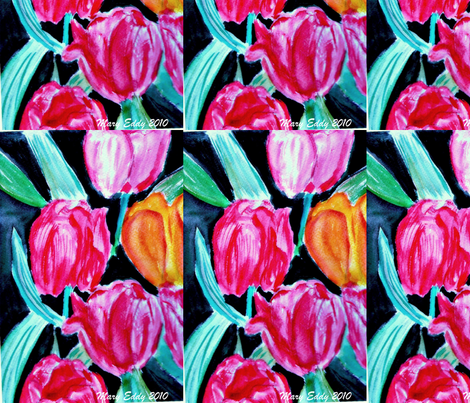 Bird Tulip fabric by jellybeanquilter on Spoonflower - custom fabric