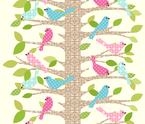 perch party pink fabric by mytinystar on Spoonflower - custom fabric