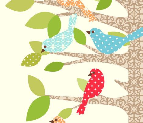 perch party red fabric by mytinystar on Spoonflower - custom fabric