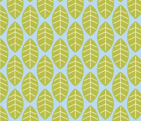 leaves in blue fabric by mytinystar on Spoonflower - custom fabric