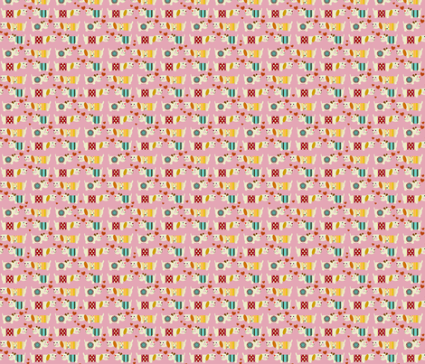 teeny woo woo woofers pink fabric by scrummy on Spoonflower - custom fabric