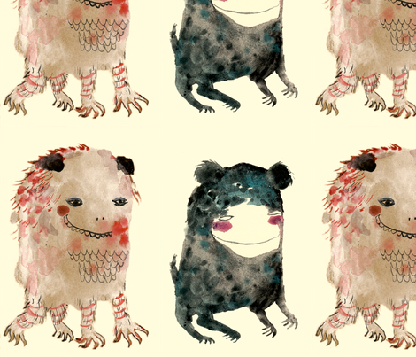 Two Smiling Monsters fabric by benconservato on Spoonflower - custom fabric