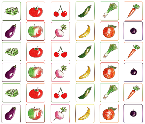 Game of mémory vegetable cards fabric by nadja_petremand on Spoonflower - custom fabric