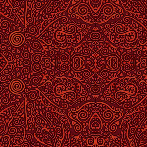 bridal mendhi - red fabric by weavingmajor on Spoonflower - custom fabric