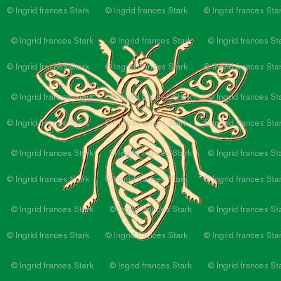 celtic bee gold on green