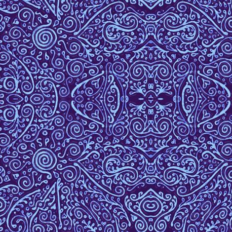 bridal mendhi - blue fabric by weavingmajor on Spoonflower - custom fabric