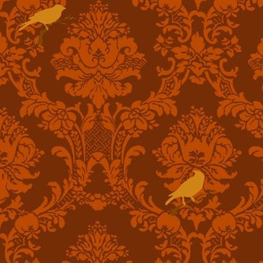 Brown Songbird Damask
