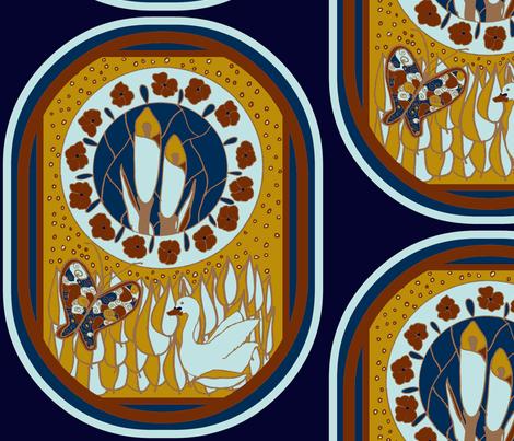swan lilly navy fabric by katrina_whitsett on Spoonflower - custom fabric