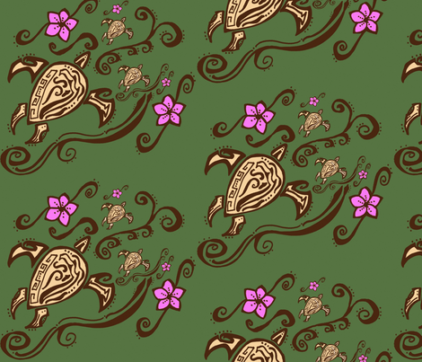 hawaiin sea turtle tattoo fabric by katrina_whitsett on Spoonflower - custom fabric